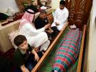 Ebrahim Sidqi ( centre) father of Obaida during the funeral prayers at Al Sahaba mosque in Sharjah