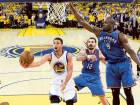 Golden State Warriors' Stephen Curry (30) drives past Oklahoma City Thunder's Serge Ibaka (9) and Steven Adams during the second half in Game 5 of the Western Conference finals.