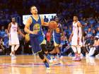 Stephen Curry of Golden State Warriors reacts at the end of the fourth quarter against the Oklahoma City Thunder in game six of the Western Conference Finals during the NBA play-offs at Chesapeake Energy Arena in Oklahoma City on Saturday.
