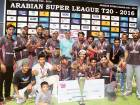 Legends Cricket Club, the winners of the first  Arabian Super League with Paksitan Test star Hasan Raza who presented the winners trophy.