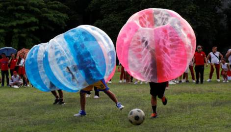 Bubble bump soccer game in Manila