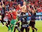 Albanian players celebrate their victory