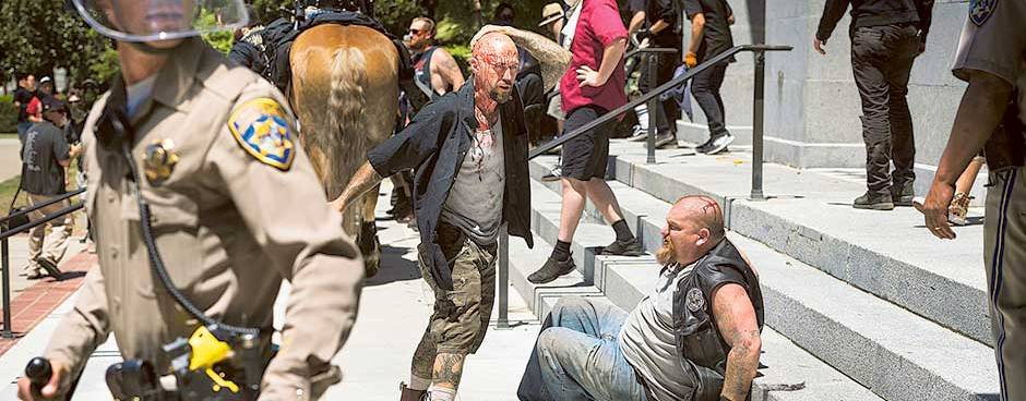 10 stabbed, beaten at white nationalist rally