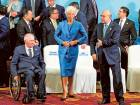 G20 Finance Ministers and Central Bank Governors including Germany's Federal Minister of Finance Wolfgang Schauble (L), International Monetary Fund managing director Christine Lagarde (C) , and Secretary-General of OECD Angel Gurria leave after a group photo in Chengdu in Southwestern China's Sichuan province, Sunday, July 24, 2016.