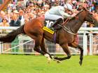 Yalta, ridden by James Doyle, on his way to victory in The Victoria Racing Club Molecomb Stakes at Goodwood on  Wednesday.