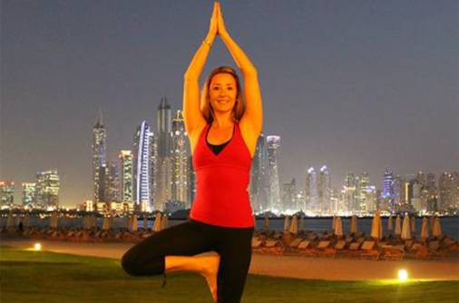 Yoga under the Dubai moon