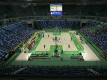 Empty stadium after blast before basketball game
