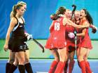 Britain women's team celebrate their win in the semi-finals against New Zealand at the Olympic Hockey Centre in Rio de Janeiro. They blanked the Kiwis 3-0.