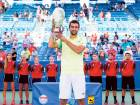 Marin Cilic of Croatia holds up the Rookwood Cup after defeating Andy Murray of Britainin the final of the Cincinnati tournament, in Mason, Ohio. The 27-year-old won instraight sets 6.4, 7-5.