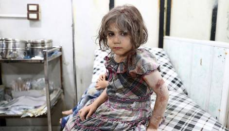 Children caught in Damascus air strikes
