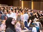 The first batch of undergraduate students of Mohammad Bin Rashid University of Medicine and Health Sciences attend the welcoming function at the university yesterday.