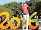 Justin Rose tees off on the 16th hole during the third round of the men's golf event at the Olympics in Rio de Janeiro.