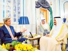 A handout picture released by the Saudi Press Agency shows US Secretary of State John Kerry (L) meeting with Saudi King Salman bin Abdulaziz in Jeddah, on August 25, 2016. Kerry is in Saudi Arabia for talks to push for peace in Yemen after UN-brokered talks collapsed despite global concern over mounting civilian casualties.