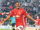 Manchester United's striker Marcus Rashford celebrates after scoring a late winning goal during the English Premier League match against Hull City at the KCOM Stadium in Kingston upon Hull, north east England.