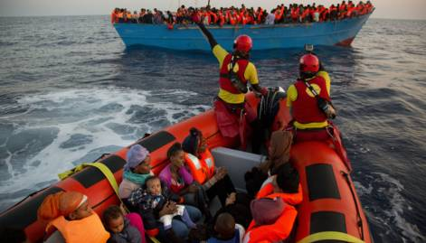 Refugee rescue mission in the Mediterranean