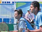 Leander Paes (left) plays alongside Rohan Bopanna during their campaign at the Rio Olympics. Paes and Bopanna were knocked out in the first round of the Olympic competition.