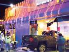 A pick-up truck ploughed into the McDonald's restaurantat an Eppco station in Al Hamidiya area in Ajman on July 17.