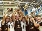 Partizan celebrate after finishing champions in the Second Dubai International Junior Basketball championships.