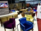 A visitor looking furniture by Sandalyeci on display at the Hotel Show which opened at Dubai World Trade Centre.