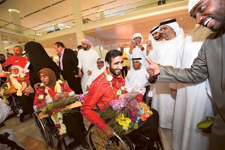 Mohammad Al Hammadi with The Paralympic Team arring from Rio at the DBX airport, Dubai.