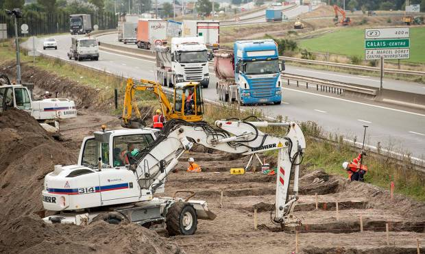 Pictures: Work begins on Great Wall of Calais
