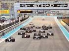 Action from the Abu Dhabi Grand Prix last year, with Nico Rosberg and Lewis Hamiltonof Mercedes leading the pack.