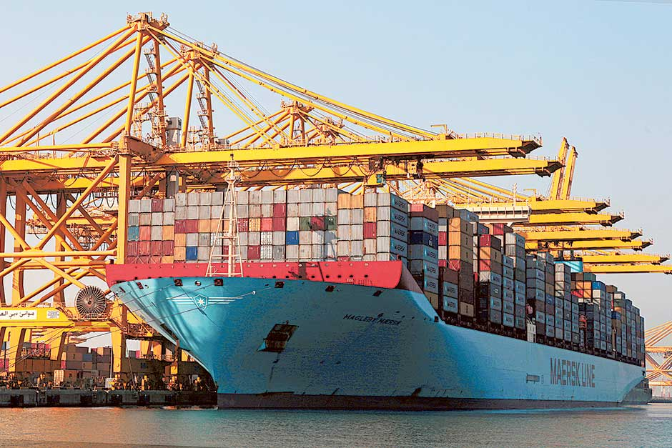 A container vessel at DP World's Jebel Ali Port.