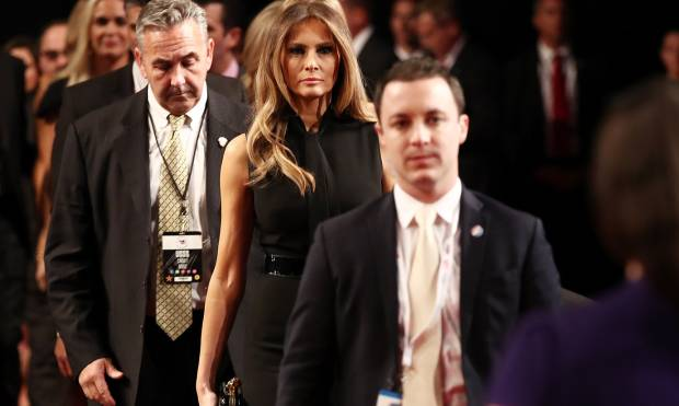 Melania Trump enters the auditorium for the final debate.