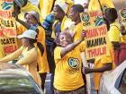 Supporters of the opposition COPE party march in support of outgoing Public Protector Thuli Madonsela — the official who investigated President Jacob Zuma.