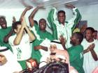 Saudi Arabia's national soccer team celebrates after winning their Group A, Asian 2002 World Cup qualifying match against Thailand in Riyadh. - Gulf News Archives