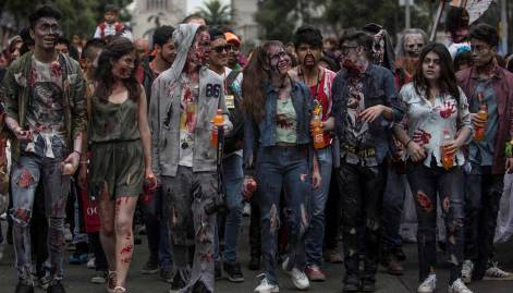 Zombies march on Mexico City streets