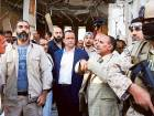 UN Special Envoy for Yemen Ould Shaikh Ahmad (centre) visits on Monday the site of an air raid on a funeral ceremony that killed 140 people and wounded 525 on October 5.