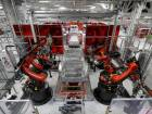 Industrial robots building a Model S in the Tesla factory in Fremont, California.