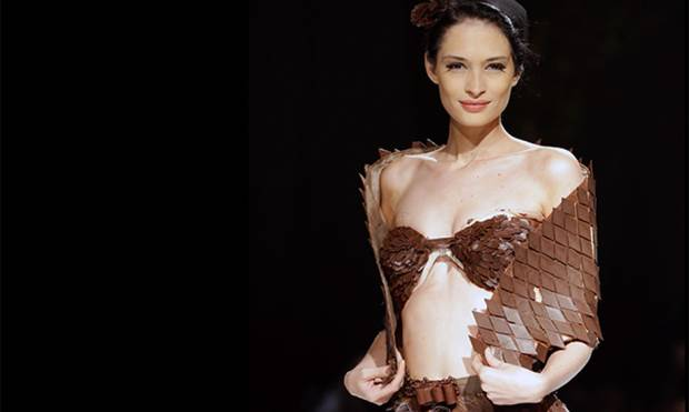 A model displays a chocolate dress at the Salon Du Chocolat 2016 fashion show in Beirut