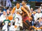Milwaukee Bucks' Giannis Antetokounmpo (34) drives for the basket as Cleveland Cavaliers guard Iman Shumpert (4) defends in the second quarter at BMO Harris Bradley Center.