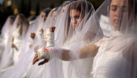 'Brides' protest law favouring rapists