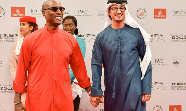 Tyrese Gibson at red carpet in Dubai