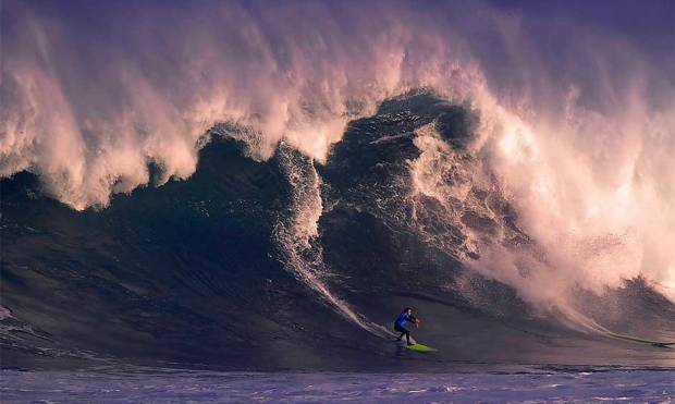 Big wave surfing competition in Santander