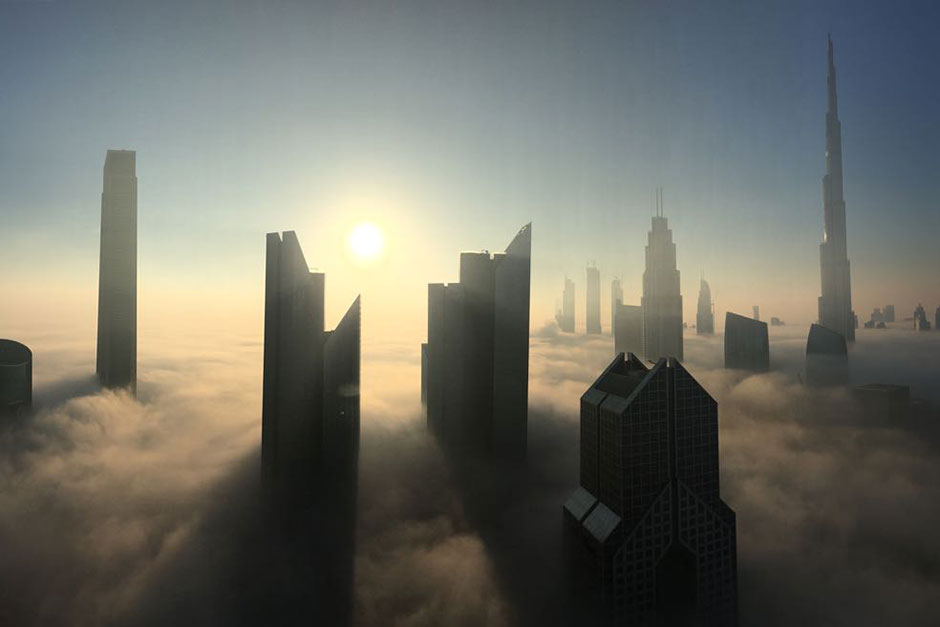 Dubai skyline is enveloped by fog on Wednesday morning