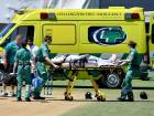Bangladesh's Mushfiqur Rahim is carried away by ambulance staff after being hit in the head.