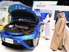 Cars powered by hydrogen on display at the Exhibitions of World Future Energy during the opening of Abu Dhabi Sustainability Week at Adnec.