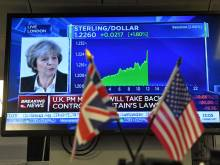 Sterling surges as May promises vote on Brexit