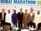 (L TO R) Peter Connerton, Ahmed Al Kamali, Kenenisa Bekele, Sarmad Lone, Rashid Al Kamali and Khalid Al Kamali during the Standard Chartered Dubai Marathon press conference at Meydan Hotel