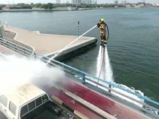 Watch: 'Flying' fireman tackles fire in Dubai