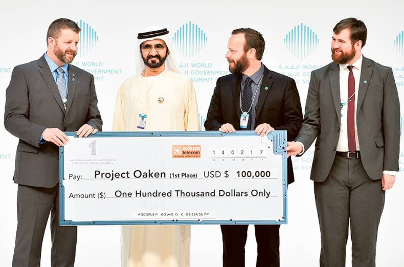 shaikh-mohammad-presents-blockchain-virtual-govhack-first-prize-to-members-of-project-oaken