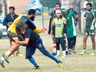 Pakistani rugby players take part in a practice session in Lahore. The Pakistan women's team are eyeing a top four finish at the Asian Women's Rugby Sevens in Laos this weekend.