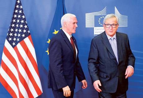 Pence says Trump committed to EU