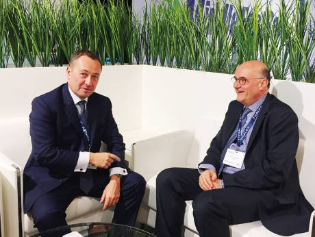 Thales' Marc Duflot and Denis Laroche at the Middle East Rail event (source: Gulf News)