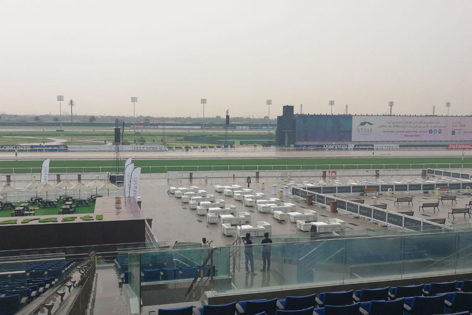A rain-soaked Meydan in Duba