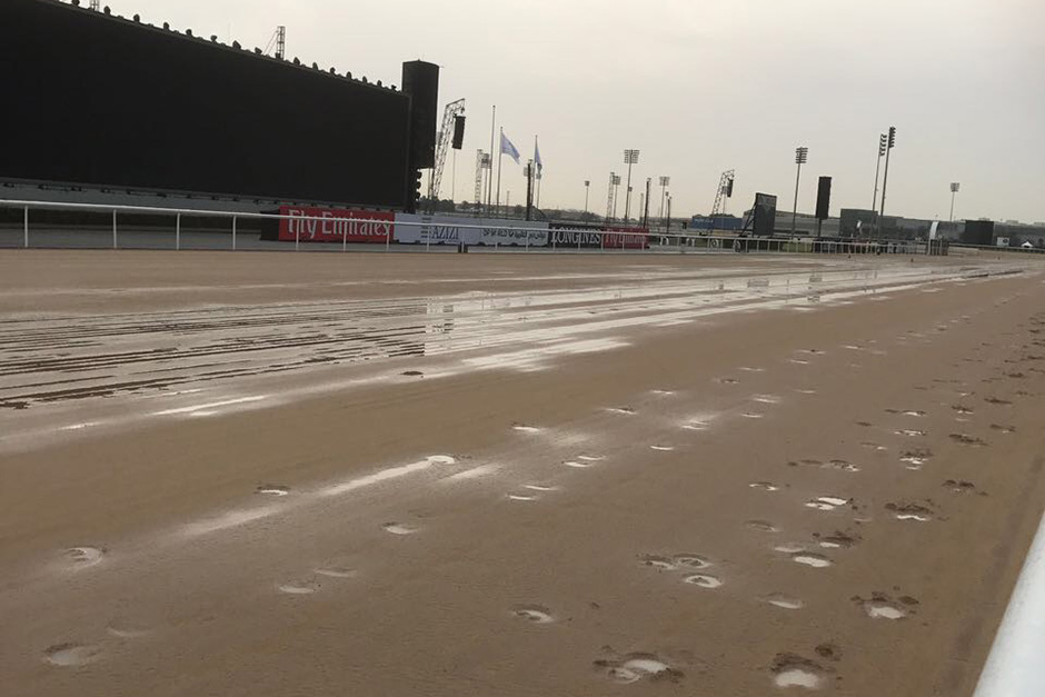The rain-soaked track at the Meydan Racecourse